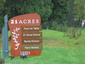 21 Acres sign post