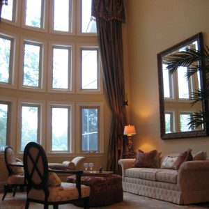 High ceiling silk window treatment with tassels