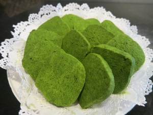 matcha cookies on doily