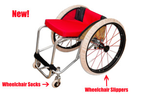 Wheelchair Socks and Slippers with text