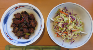Kung pao chicken and napa cabbage