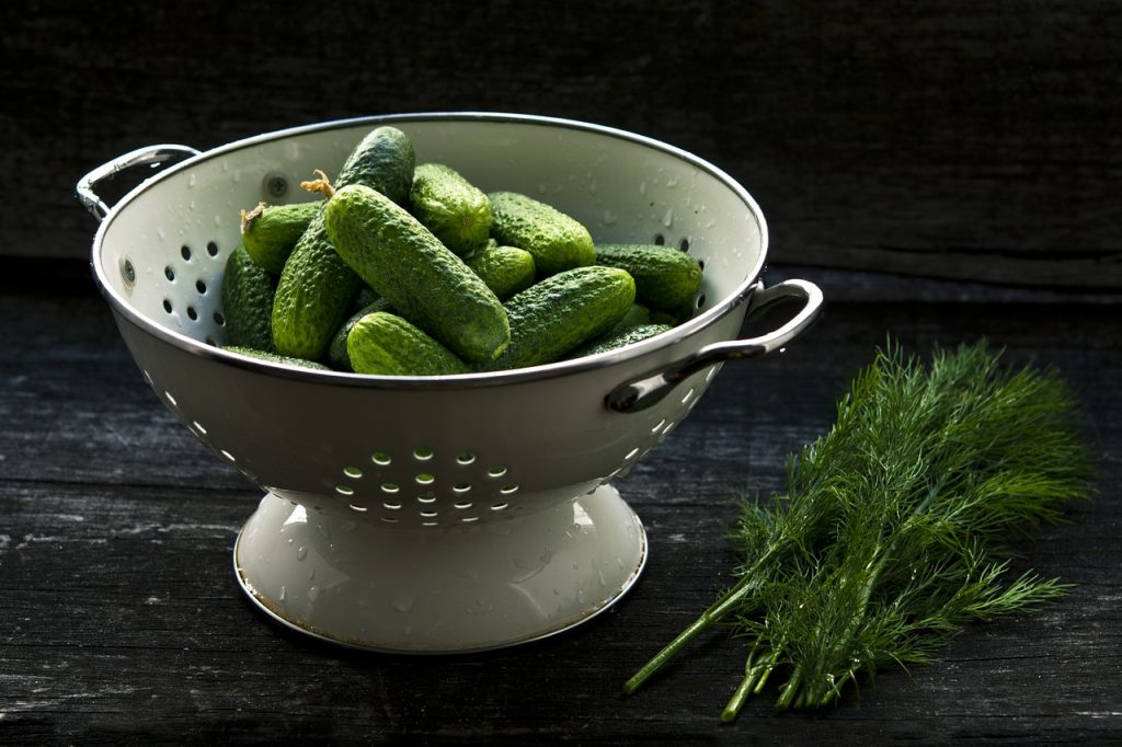 colander, cucumber, food