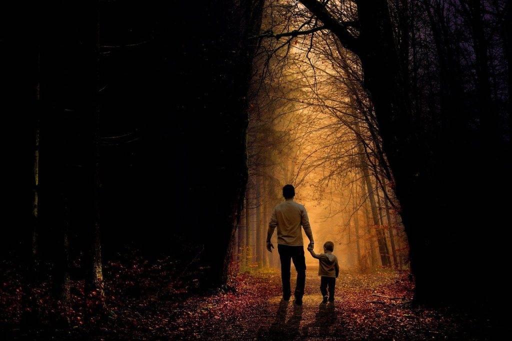 father, son, walk