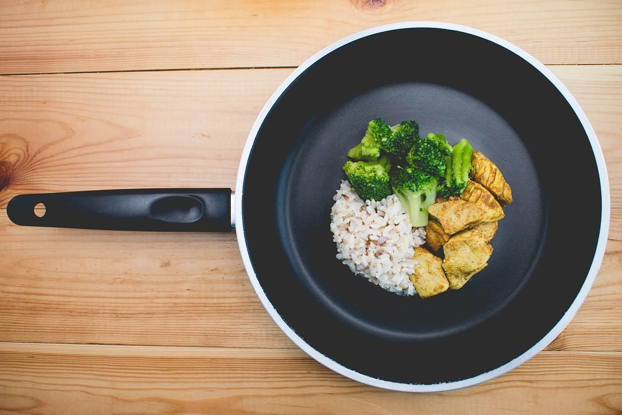 frying pan, food, kitchen