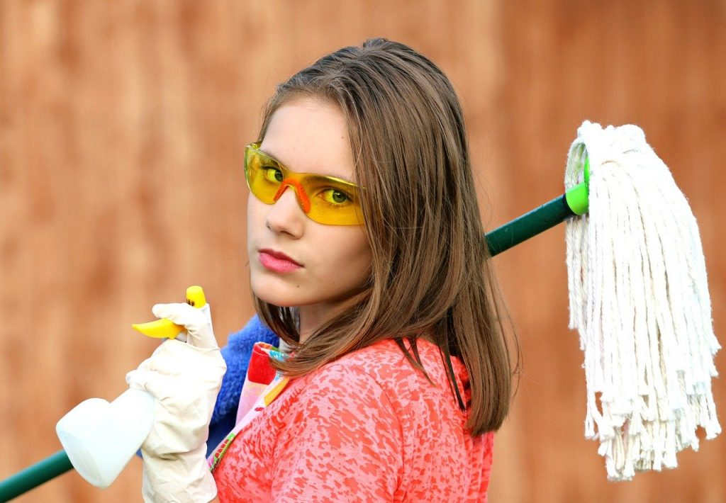 girl, goggles, mop