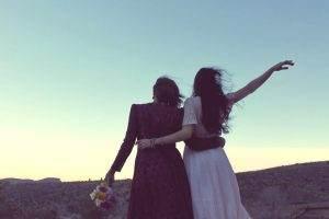 girlfriends, sunset, vintage