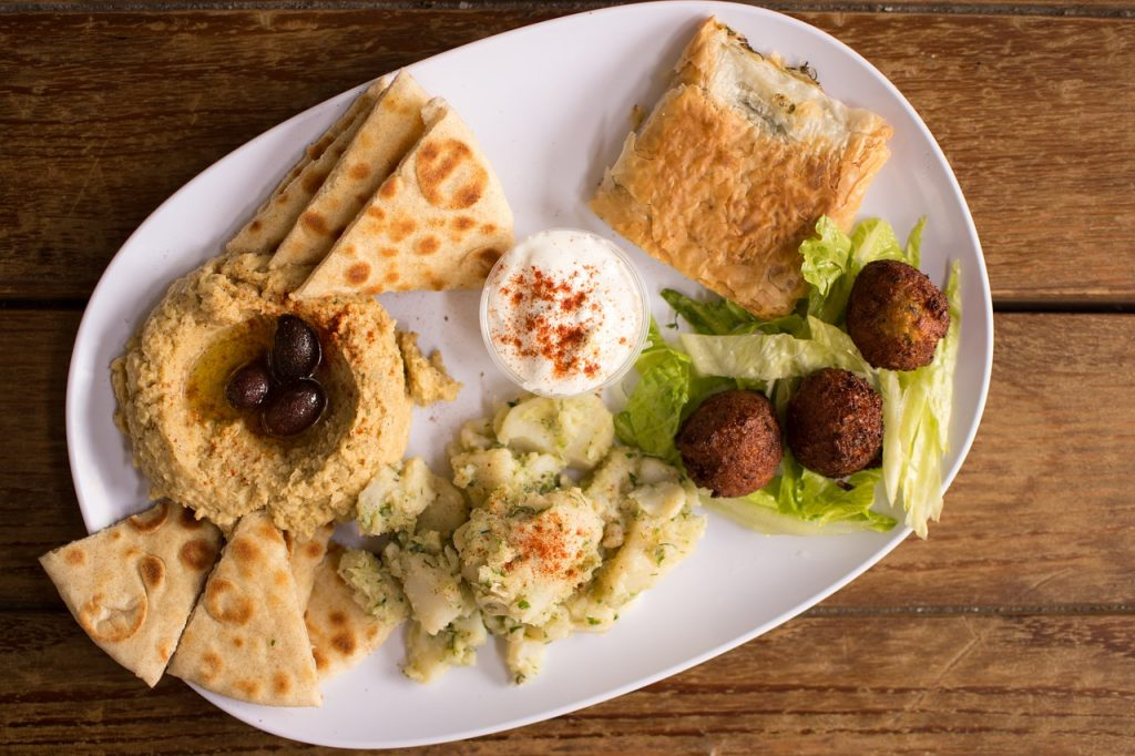 hummus, falafel, authentic greek