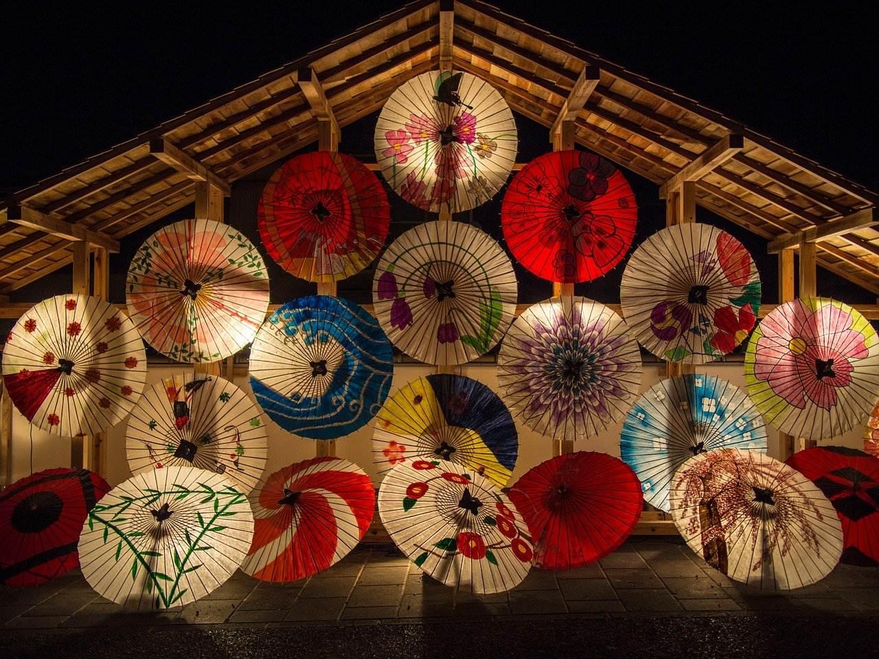 japanese umbrellas, parasols, illuminated