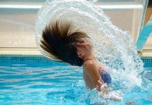 swimming pool, drops of water, black hair