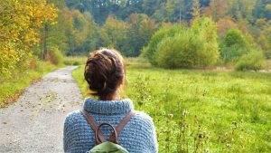 woman, away, nature